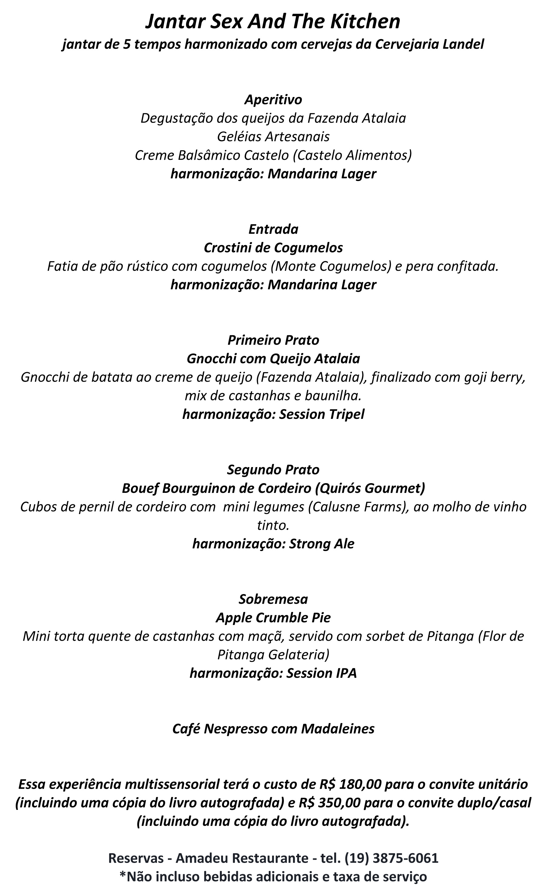 Menu Sex and the Kitchen - Festival Sabores da Terra - Gastronômico e Itinerante