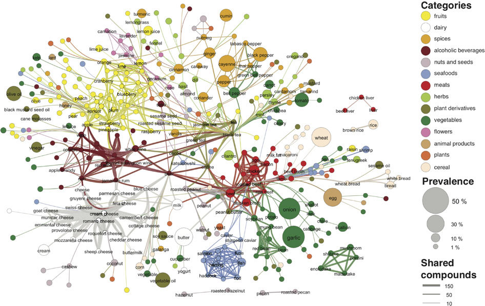 O futuro das receitas  flavor compound food pairing chart combinations . Foto Científic Reports - O futuro das receitas